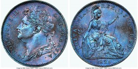 George IV Farthing 1825 MS65+ Brown NGC, KM677, S-3822. Florescent cerulean toning. 