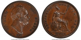 William IV Penny 1831 AU55 PCGS, KM707, S-3845. No initials on variety. 