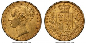 Victoria gold Sovereign 1863 MS62 PCGS, KM736.1, S-3825D. No Die #, Arabic 1 variety. 