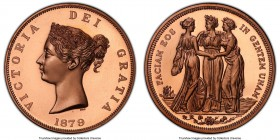 "Victoria copper Proof Piefort INA Retro Issue ""Three Graces"" Crown 1879-Dated PR67 Red Deep Cameo PCGS, KM-X81b. Copper Issue. 