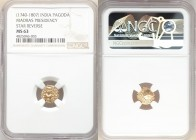 British India. Madras Presidency gold Pagoda ND (1740-1807) MS63 NGC, Fort St. George mint, KM303. Star Reverse. 