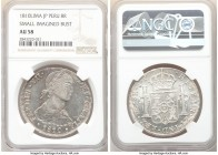 Ferdinand VII 8 Reales 1810 LM-JP AU58 NGC, Lima mint, KM106.2. Small Imagined Bust variety. 