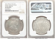 Ferdinand VII 8 Reales 1811 LM-JP AU Details (Cleaned) NGC, Lima mint, KM106.2. Small imagined bust short ribbons variety. 