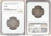 Republic 2 Reales 1842 LM-MB XF45 NGC, Lima mint, KM141.3. Rose-tinged gray toning. 