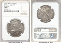 Philip II Cob 4 Reales ND (1556-1598) S-D XF40 NGC, Seville mint, Square D variety. 13.66gm. 