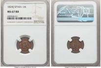 Ferdinand VII Maravedi 1824-J MS67 Red and Brown NGC, Jubia mint, KM502.1. Reflective red and brown fields, however, the portrait stands alone in an i...