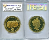 "Elizabeth II gold Proof ""Five Portraits"" 500 Pounds 2015 PR69 Deep Cameo PCGS, KM-Unl. PCGS holder signed by Joel Iskowitz, American artist and coin/m..."