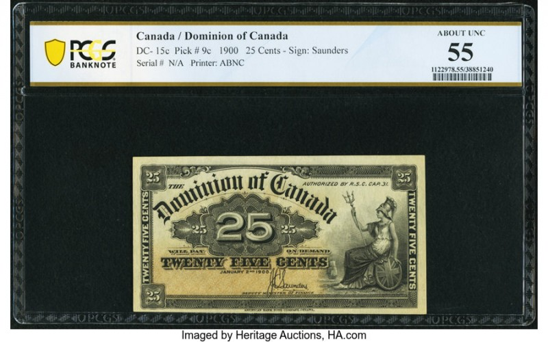 Canada Dominion of Canada 25 Cents 2.1.1900 DC-15c PCGS Banknote About Unc 55. P...