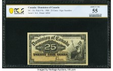 Canada Dominion of Canada 25 Cents 2.1.1900 DC-15c PCGS Banknote About Unc 55. Printed by The American Bank Note Company, Ottawa, the J.C. Saunders si...