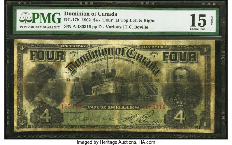 Canada Dominion of Canada $4 2.1.1902 DC-17b PMG Choice Fine 15 Net. Printed by ...