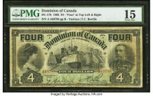 "Canada Dominion of Canada $4 2.1.1902 DC-17b PMG Choice Fine 15. A bold ""Four"" is present on the top left and right of this this note highlighted by p..."