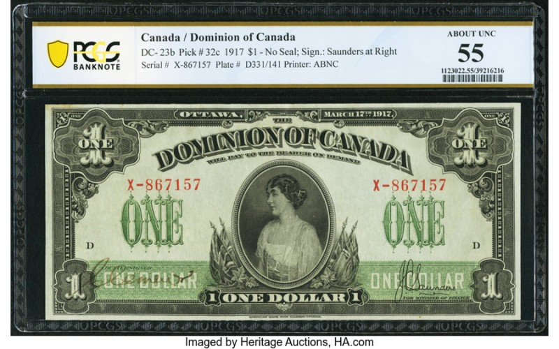Canada Dominion of Canada $1 17.3.1917 DC-23b PCGS Banknote About UNC 55. The no...