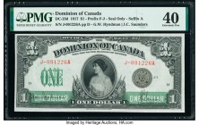 Canada Dominion of Canada $1 17.3.1917 DC-23d PMG Extremely Fine 40. Rarely seen above a Very Fine grade, this Hyndman-Saunders example retains great ...