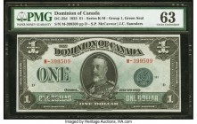 Canada Dominion of Canada $1 2.7.1923 DC-25d PMG Choice Uncirculated 63. A well centered portrait of King George V draws attraction to this Group 1, G...
