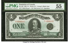 Canada Dominion of Canada $1 2.7.1923 DC-25f PMG About Uncirculated 55. A beautiful example of the Group 2, Black Seal issue, this note is highlighted...