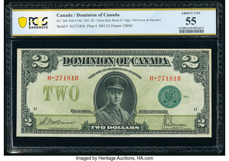 Canada Dominion of Canada $2 23.6.1923 DC-26d PCGS Banknote About UNC 55. Rarely...