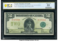 Canada Dominion of Canada $2 23.6.1923 DC-26d PCGS Banknote About UNC 55. Rarely seen in grades above Very Fine, this Series H 1923 variety features t...