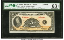 Canada Bank of Canada $5 1935 BC-6 PMG Choice Uncirculated 63 EPQ. A high grade example of the French text Bank of Canada variety, this type is much s...