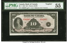 Canada Bank of Canada $10 1935 BC-7 PMG About Uncirculated 55. A portrait of Princess Mary highlights the front of this note, while an allegory of a s...