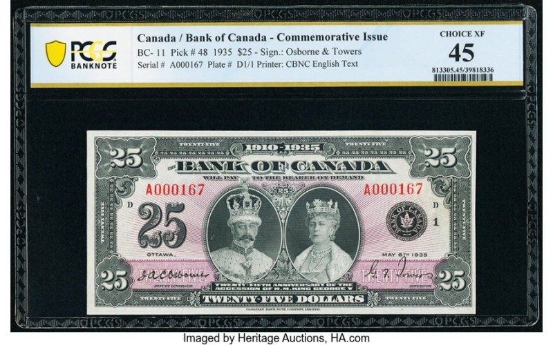 Canada Bank of Canada $25 6.5.1935 Pick 48 BC-11 Commemorative Issue PCGS Bankno...