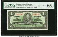 Canada Bank of Canada $1 2.1.1937 BC-21b PMG Gem Uncirculated 65 EPQ. An Uncirculated Narrow Signature Panel variety, this note is enhanced by a portr...