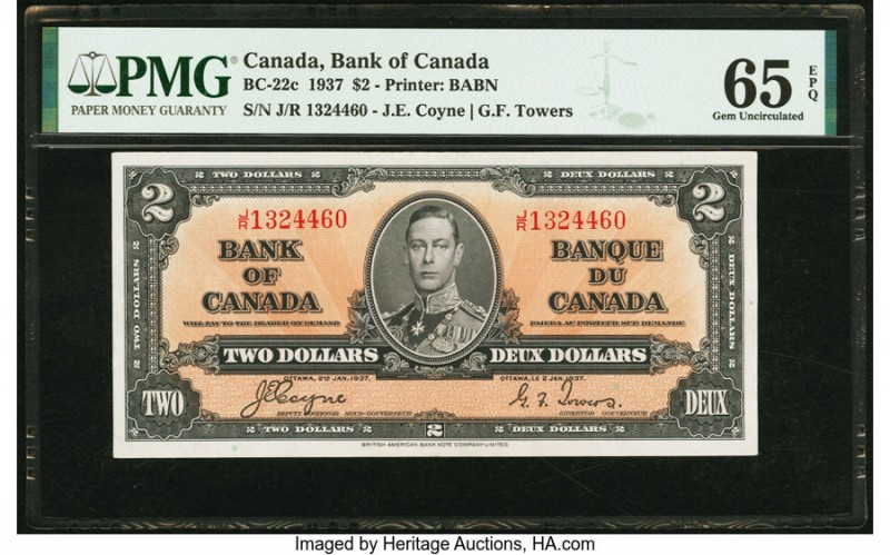 Canada Bank of Canada $2 2.1.1937 BC-22c PMG Gem Uncirculated 65 EPQ. A portrait...