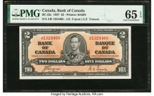 Canada Bank of Canada $2 2.1.1937 BC-22c PMG Gem Uncirculated 65 EPQ. A portrait of King George VI is featured on the front of this Coyne-Towers signa...