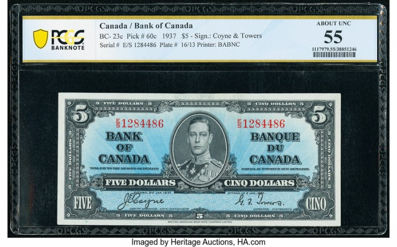 Canada Bank of Canada $5 2.1.1937 BC-23c PCGS Banknote About Unc 55. The Coyne-T...