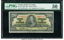 Canada Bank of Canada $20 2.1.1937 BC-25a PMG About Uncirculated 50. First prefix A/E is seen on this Osborne-Towers signature combination example. On...