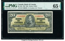 Canada Bank of Canada $20 2.1.1937 BC-25b PMG Gem Uncirculated 65 EPQ. A D/E prefix example, the signatures of Gordon and Towers appear on this variet...