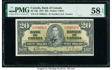Canada Bank of Canada $20 2.1.1937 BC-25b PMG Choice About Unc 58 EPQ. A mid-denomination, Gordon-Towers signature issue, this note retains great colo...