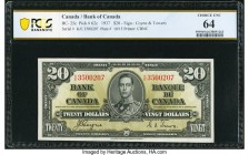 Canada Bank of Canada $20 2.1.1937 BC-25c PCGS Banknote Choice Unc 64. A wonderful choice example of this final signature variety for the King George ...