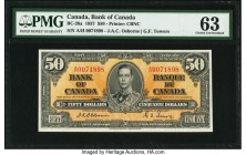 Canada Bank of Canada $50 2.1.1937 BC-26a PMG Choice Uncirculated 63. A rare, high grade example of the 1937 $50 issue with an A/H prefix, and the sig...