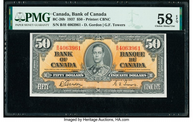 Canada Bank of Canada $50 2.1.1937 BC-26b PMG Choice About Unc 58 EPQ. Vibrant o...