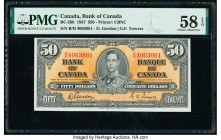 Canada Bank of Canada $50 2.1.1937 BC-26b PMG Choice About Unc 58 EPQ. Vibrant orange color creates an impressive eye appeal on this note that feature...