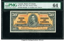 Canada Bank of Canada $50 2.1.1937 BC-26b PMG Choice Uncirculated 64. Vivid colors and a portrait of King George VI draw attraction to this note featu...