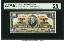 Canada Bank of Canada $100 2.1.1937 BC-27b PMG Choice About Unc 58. This second signature combination, Gordon-Towers, is graced by a portrait of John ...