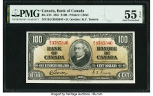 Canada Bank of Canada $100 2.1.1937 BC-27b PMG About Uncirculated 55 EPQ. A well centered portrait of Sir John McDonald enhances the front of this exa...
