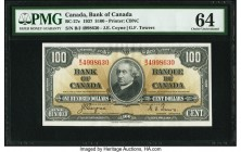 Canada Bank of Canada $100 2.1.1937 BC-27c PMG Choice Uncirculated 64. A portrait of John A. Macdonald, deep inks and guilloche designs enhance this e...