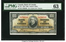 Canada Bank of Canada $100 2.1.1937 BC-27c PMG Choice Uncirculated 63. Coyne-Towers signatures are seen on this exampled highlighted by a portrait of ...