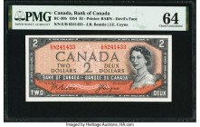 "Canada Bank of Canada $2 1954 BC-30b ""Devil's Face"" PMG Choice Uncirculated 64. An always popular ""Devil's Face"" $2 example, this note is enhanced by ..."