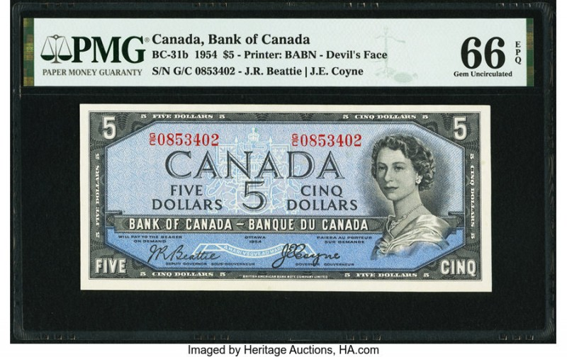 "Canada Bank of Canada $5 1954 BC-31b ""Devil's Face"" PMG Gem Uncirculated 66 EPQ...."