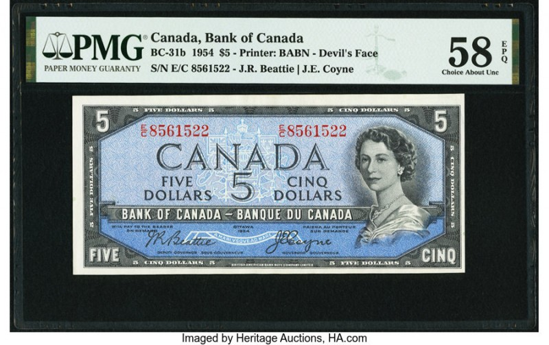 "Canada Bank of Canada $5 1954 BC-31b ""Devil's Face"" PMG Choice About Unc 58 EPQ...."