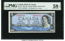"Canada Bank of Canada $5 1954 BC-31b ""Devil's Face"" PMG Choice About Unc 58 EPQ. An eye appealing example of the popular ""Devil's Face"" variety, this ..."