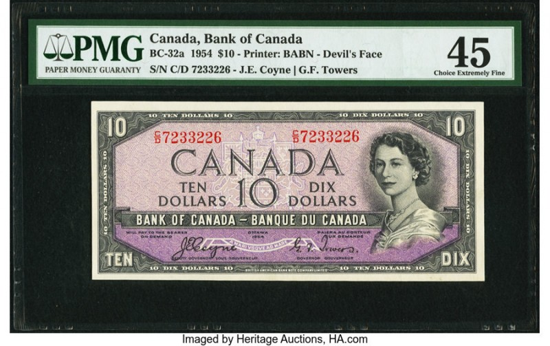 "Canada Bank of Canada $10 1954 BC-32a ""Devil's Face"" PMG Choice Extremely Fine 4..."