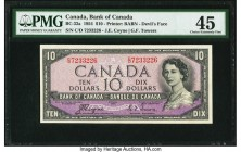 "Canada Bank of Canada $10 1954 BC-32a ""Devil's Face"" PMG Choice Extremely Fine 45. An always popular example, this note features the ""Devil's Face"" de..."