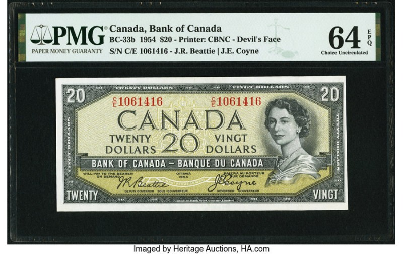 "Canada Bank of Canada $20 1954 BC-33b ""Devil's Face"" PMG Choice Uncirculated 64 ..."
