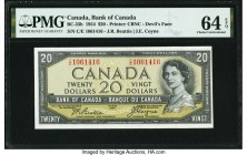 "Canada Bank of Canada $20 1954 BC-33b ""Devil's Face"" PMG Choice Uncirculated 64 EPQ. A desirable example of the ""Devil's Face"" variety from the 1954 s..."