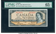 "Canada Bank of Canada $50 1954 BC-34a ""Devil's Face"" PMG Gem Uncirculated 65 EPQ. A gorgeous high grade example, this note features the ""Devil's Face""..."