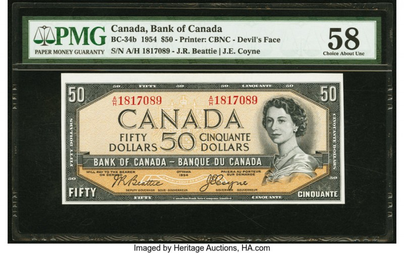 "Canada Bank of Canada $50 1954 BC-34b ""Devil's Face"" PMG Choice About Unc 58. Sh..."